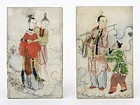 Two Small Chinese Painted Marble Plaques w. Immortals, late Qing.