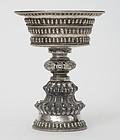 Antique Tibetan Buddhist Silver Butter Lamp, 19th C.