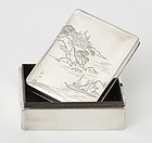 Old Japanese Sterling Silver Box with Wood Lining, Signed.