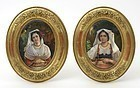 A Pair Finely Painted German Porcelain Plaques with Italian Women.