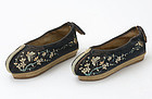 A Pair Chinese Velvet Manchu Women's Shoes, late Qing.