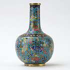 Small Chinese Cloisonne Enamel Vase in Tianqiuping Form, 19th C.