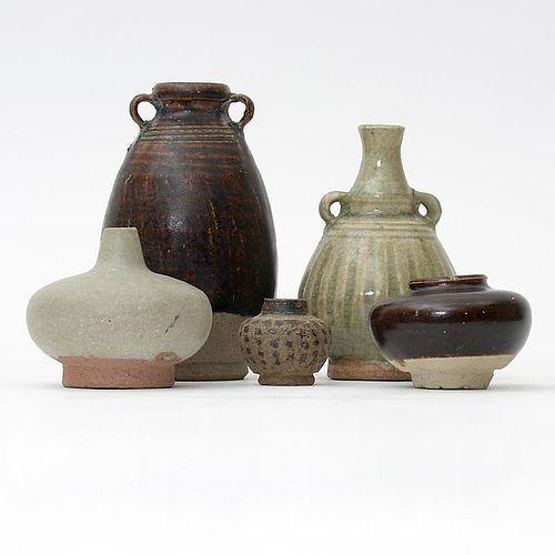 Lot of 5 Antique Thai Ceramics w. Celadon & Brown Glaze, c. 17 th C.