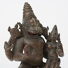 Antique Indian Miniature Bronze Statue of Narashima with Consort.