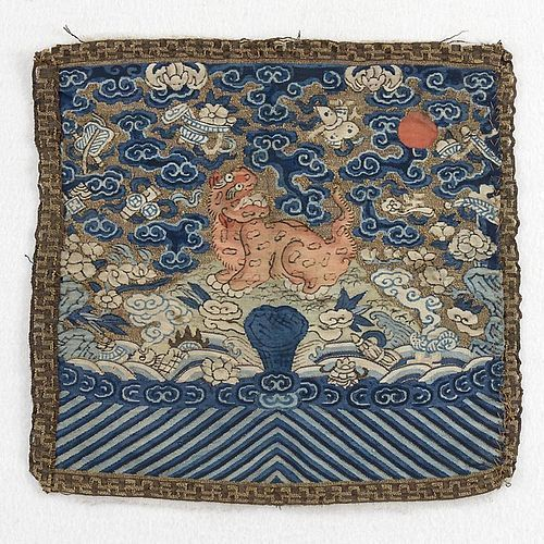 Chinese Kesi Military 3rd Silk Rank Badge with Leopard, 19th C.