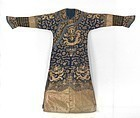 Chinese Altered Embroidered Silk Gauze Dragon Robe, late Qing.