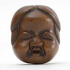 Japanese Wood Mask Netsuke of Okame # 3, 19th C.