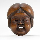 Japanese Wood Mask Netsuke of Okame # 4, 19th C.