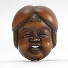 Japanese Wood Mask Netsuke of Okame # 4, 19th C.