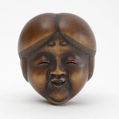 Signed Japanese Wood Mask Netsuke of Okame # 5, 19th C.
