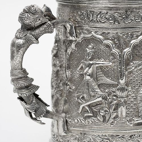 Fine Antique Burmese Silver Tankard with Figures, Dated 1875.