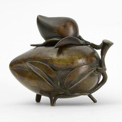 Antique Chinese Peach Shaped Bronze Censer, 18th /19th C.