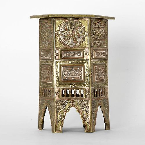 Inlaid Mamluk Revival Cairoware Miniature Table Box, Egypt or Syria.