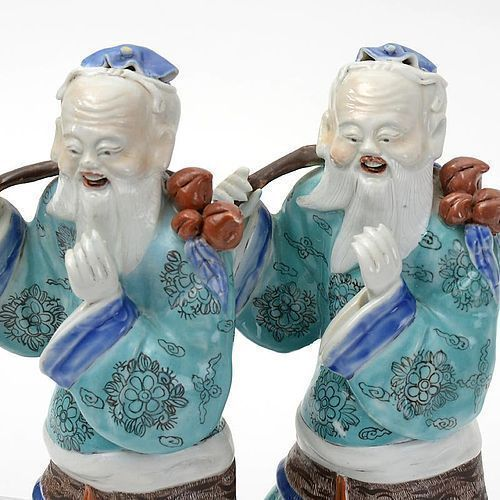 A Rare Pair Chinese Export Porcelain Figures of Shoulao, 18th C.
