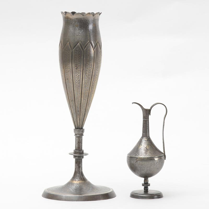 Two Small Indo Persian Koftgari Style Steel Vase and Jug.
