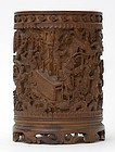 Chinese Carved Bamboo Brush Pot with Warriors, 19th C.