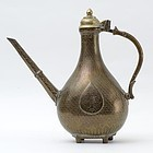 Antique Islamic Mughal Brass or Bronze Ewer, 18th / 19th C.