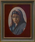 Portrait of Indian Woman by Artist S.B. Rawoot, Watercolor dated 1916.