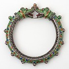 Indian Silver Bracelet with Makara Heads in the Mughal Style, 20th C.
