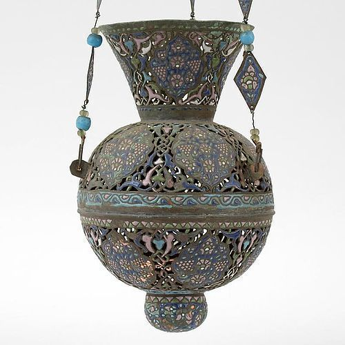 Antique Syrian Mosque Hanging Lamp, Copper with Enamel, 19th C.