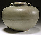 Chinese Longquan Celadon Jar, Yuan/Ming.