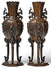 A Pair of Japanese Patinated Bronze Vases, Meiji.