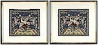 Pair Chinese Embroidery Rank Badges, late Qing