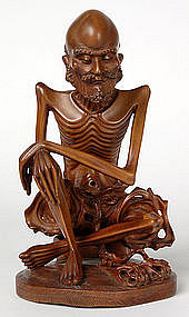 Chinese Boxwood Carving of Fasting Buddha, 18th/19th C.