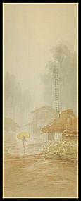 Japanese Prewar Watercolor on Paper.