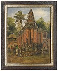 Framed Oil Painting with Offering at Balinese Temple.