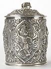 Old Burmese Repousse Silver Box, c. 1920.