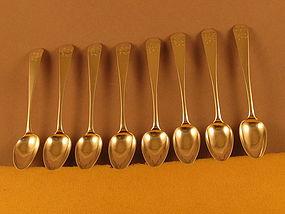 8 Teaspoons by Saunders Pitman, Providence,c.1803