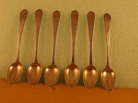 6 Teaspoons by J.Shoemaker, Phila, circa 1800-1810