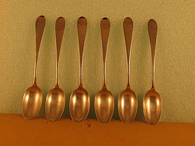 6 Teaspoons by C.Wiltberger, Phila, circa 1800