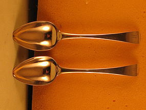 Pair of tablespoons marked B&J, style of 1790's