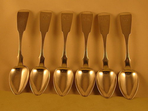 6 Tablespoons by Deschamps, Phila., circa 1850