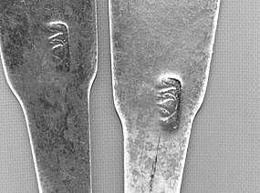 Pair of teaspoons by EW(?), circa 1815