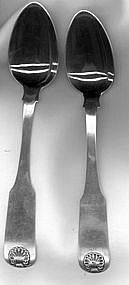 Two fiddle shell teaspoons by S.Willis, Boston, c.1825
