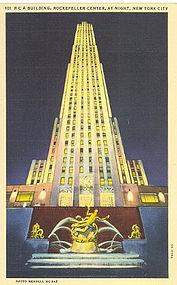 Linen Postcard, R C A Building, New York
