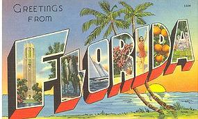 """Large Letter Linen Postcard  """"FLORIDA"""""""