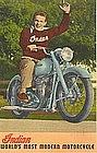 Linen Postcard, Indian Motorcycle