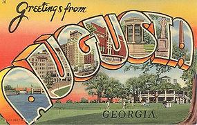 Linen Postcard, Greetings From Augusta, Curt Teich