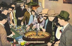 """""""Wooing Lady Luck In Nevada"""" Linen Postcard"""