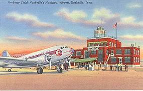 """Berry Field"", Genuine Curt Teich Linen Postcard"