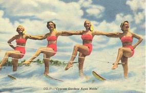 """""""Cypress Garden Aqua Maids""""  Linen Postcard, Curt Teich"""