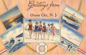 """Greetings From Ocean City"" Linen Postcard, Tichnor"