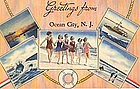 """Greetings From Ocean City"" Linen Postcard, Tichnor"
