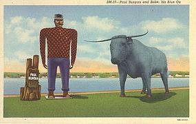 """""""Paul Bunyan and Babe"""" Linen Postcard, Curt Teich"""