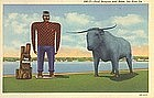 """Paul Bunyan and Babe"" Linen Postcard, Curt Teich"