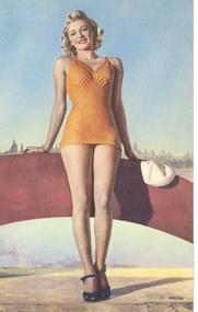 """""""Woman In Short Yellow Dress"""" Linen Postcard"""